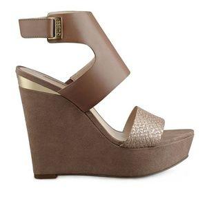 Guess Oppal Wedge Platform Sandal Leather Natural